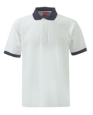 An image of Unisex Polo Shirt White & Navy / White & Bottle / Oasis & Navy