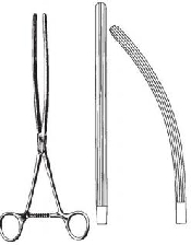 "An image of MAYO-ROBSON Intestinal Clamp Forceps 21 cm 8 1/4"" curved"