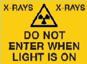 An image of Self Adhesive A4 , Black On Yellow Trefoil ,  X-RAYS' Do Not Enter when light is on