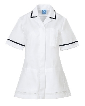 An image of P958 Tunic White/Navy ISCP Logo( Size 42) (ISCP010_42)