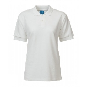 An image of PS819 Ladies Fit Plain White Polo Shirt ISCP logo (S) (ISCP026S)