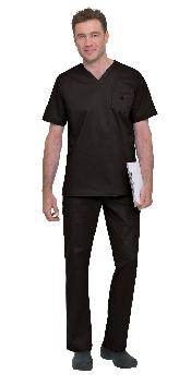 An image of Men's 5-Pocket Scrub Top Black S