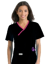 An image of Double Pocket Crossover Top Black/Primrose L