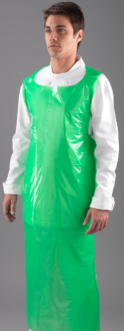 "An image of Flat Pack Green Apron Size :  27"" x 58""  50 micron 50 aprons per poly dispenser"