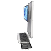 An image of EMVT21 Low Profile Sit / Stand Computer Workstation Standard Ultra Medical White
