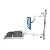 An image of Ultra 500i Monitor & Keyboard Wall Track Mount Extended Long Reach Worksurface Medical White