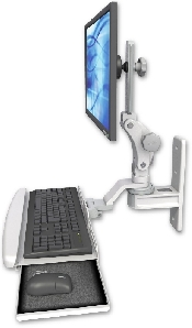 An image of T2 Paralink Series Keyboard & Monitor Wall Mount Compact Ultra Medical White