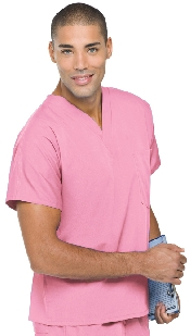 An image of Unisex Scrub Top Pink XS