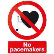 An image of S/A sign for MRI use - 'No pacemakers'