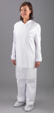 "An image of Heavy Duty Aprons 50 micron 27x46"" White 5 x 100/Roll"