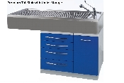 An image of Tub Sink with under storage (epoxy coated steel draws and cupboard) 140Lx70Wx 85Hcm