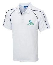 An image of G-Force Unisex Poloshirt White ISCP Logo (ISCP201S)