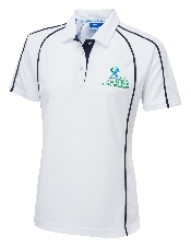 An image of G-Force (18/20) Ladies Fit Poloshirt White ISCP Logo (ISCP202L)
