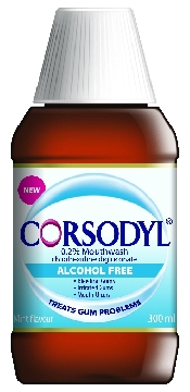 An image of Corsodyl Alcohol Free Mouth Rinse 300ml