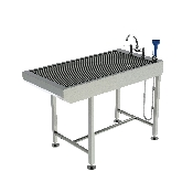 An image of Slimline Tub Table - All stainless steel - designed for dentistry with Knee space 130x65x91.5cm