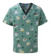 An image of Scrub Top Green/Bottle Trim Perfect Pets