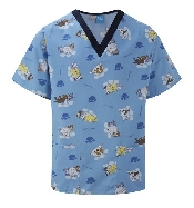 An image of Scrub Top Blue/Navy Trim Perfect Pets