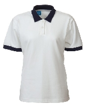 An image of Ladies Fit Polo Shirt White/Navy