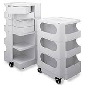 An image of Labmobile Storage Trolley 3 Tier with 2 Drawers Overall Size 73x41x43cm