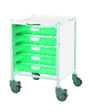 An image of Vista 40 Trolley - Trays Green - 5 Single Trays