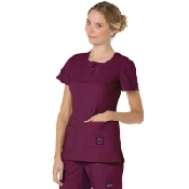 An image of KOI Serenity Top Wine Double Zipper Front 100% Polyester XL