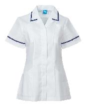 An image of P958 Ladies Zip Tunic White/Navy ISCP Logo (ISCP010_30)