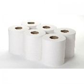An image of Centre Feed Rolls - 2 Ply White Toilet Rolls 6 Rolls
