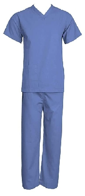 An image of Scrubs Suit Top & Pants - Mid-Blue Large