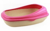 An image of Beco Cat Litter Tray Pink (1)
