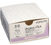 An image of ETHICON Vicryl Plus 2/0 USP 70cm Thread CP-2 27mm 1/2 Circle Reverse Cutting Needle (36)
