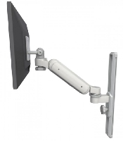 An image of Ultra 180 series gas lift medical grade laptop arm. Wall mounted in light Grey finish.