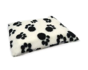 An image of Micro Hottie & Lambswool Fleece White with Black Pawprint